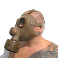 Gas mask Halloween French military perfect respirator apocalypse goth light brown steampunk unused halloween mask carnival collectibles