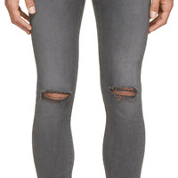 Grey Distressed Skinny Jeans