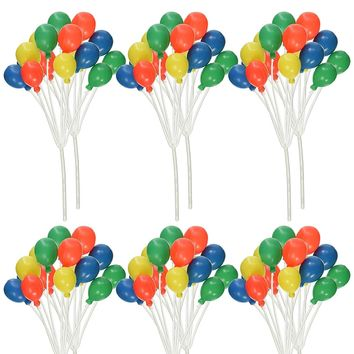 6 Count Cluster Balloons Rainbow Cupcake Cake Topper Balloons Red Blue Yellow Green