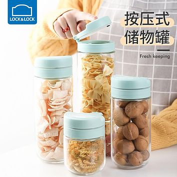 Lock&Lock Sealed Jar Glass Storage Bottle Grain Storage Box Press Type Household Milk Powder Tea With Lid