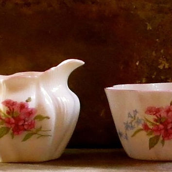 Vintage Shelley Cream and Sugar Bowl, Serving Set, England, Pink Floral Pattern