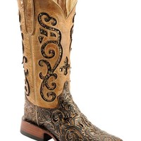 Ferrini Embossed Glitter Inlay Cowgirl Boots - Wide Square Toe - Sheplers