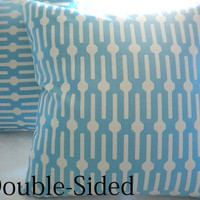 Blue geometric print pillow cover 18 x 18 Double Sided