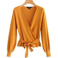 Knit Wrap Blow Top - Mustard