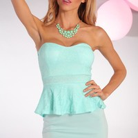Mint Strapless Peplum Dress with Mesh Lace Overlay