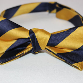 Gold and Navy Striped Bow Tie