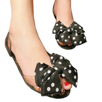 Bowknot Tramsparent Jelly Shoes Woemn Beach Peep-toe  black