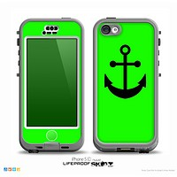 The Lime Green & Solid Black Anchor Silhouette Skin for the iPhone 5c nüüd LifeProof Case