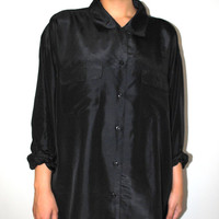oversized black silk blouse 80s vintage shirt dress large minimalist silk shirt L