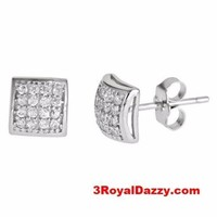 Men style Dome shape micro pave with CZ .925 Sterling Silver Stud Earrings