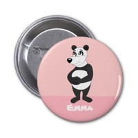 Button with panda bear cartoon