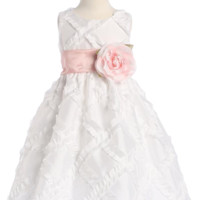 (Sale) Ruffled Ribbons on White Taffeta Flower Girl Dress by Blossom (Girl's Sizes 12 months - 12)