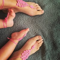 Princess Pink Mommy and Me Barefoot Sandals, Crochet Sandals, Mommy and Me Accessories, Matching Set of Barefoot Sandals, Boho Accessories