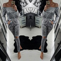 2017 Sexy Slash Neck Romper Women Jumpsuits Off the Shoulder Strapless Long Playsuits Fashion Holes Velvet Jumpsuits