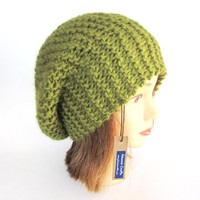 Beret style hat - slouch hat - olive green beret - knitted hat - chunky knit hat - fashion accessory - warm winter hat - 100% wool tam hat