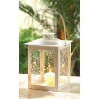 Large White Old Fashioned Pillar Candle Lantern