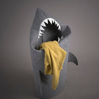 SHARK. Felt laundry basket for bathroom or children's room as a basket for toys.