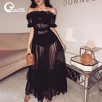 Women Sexy black Dress Perspective Mesh Dress Autumn Hollow Out  frill pleated Sundress Dress Vestidos Robes night club clothes