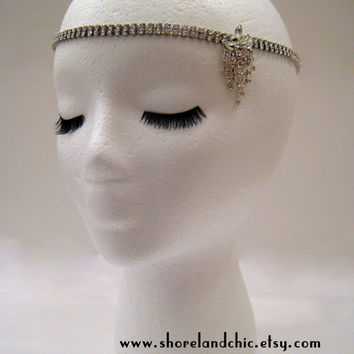 The Sybil - Great Gatsby wedding headpiece, Swarovski crystal bridal hair wrap, rhinestone 1920s wedding hair, art deco chain hairpiece