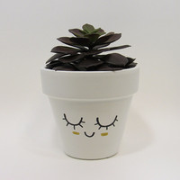 Terracotta Pot, Succulent Planter, Cute Face Planter, Small Pot, White Planter, Air Plant Holder, Indoor Planter, Succulent Pot, Gold