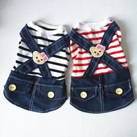 MDIG4F Dog Dress Striped skirt Denim Dress Dog Clothes Summer Spring Pet Clothing Chihuahua Poodle Bichon Yorkies Clothes Costume