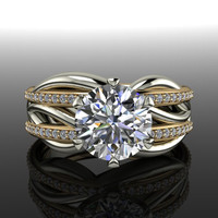 Forever Brilliant Moissanite and Diamond Engagement Ring 2.00 CTW