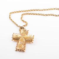 Vintage Gold Metal Studded Cross Pendant Necklace
