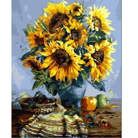 DIY oil painting paint by number canvas picture home wall decor sunflowers drawing coloring paint craft painting by numbers E081