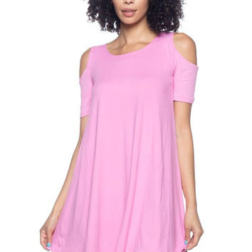 * Open Shoulder Swing Dress