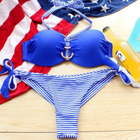 Fashion Anchor Padded Push Up Fringe Sexy Swimwear Bikini Set Bathing Suit Size S\M\L\XL = 1955937924