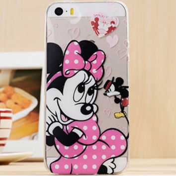 Cute Pink Polka Dots Minnie Mouse Disney Cartoon TPU Transparent Soft Phone Back Case Shell Cover for iPhone 5 5S SE
