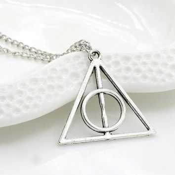 HOMOD Unisex Accessories Harry Potter Luna and the Deathly Hallows Pendant Necklace Retro Triangle Round Sweater Chain Necklace