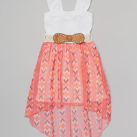 Coral Western Belted Dress - Girls | something special every day