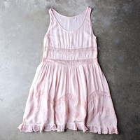 lace trim trapeze slip dress - pink