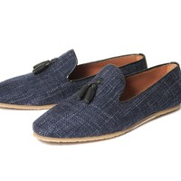 Corbert Navy ($150.00) - A tassel loafer is always a firm favourite with us at H, and this time our mens designer has given it a makeover for the warmer months. With a sleek silhouette, Corbert is constructed using a light linen fabric. Lined with a tan le