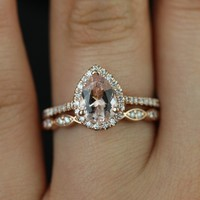 Rosados Box Tabitha and Christie Band Rose Gold Pear Morganite Halo Wedding Set