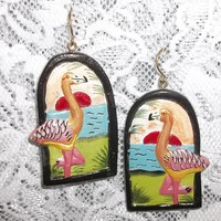 "Vintage Flamingo Sunset Hand Carved Painted Wooden 2"" Dangle Statement Earrings"