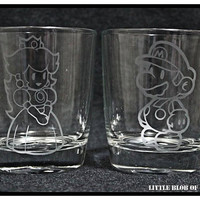 Mario and Peach Claret Tumbler Set