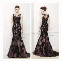 Elegant Black Lace Applique Prom Dresses