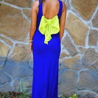 Topped With A Bow Maxi Dress: Royal/Pistachio | Hope's