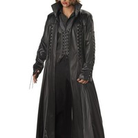halloween costume for men Black Faux Leather Adult Vampire Movie Cosplay Fancy Dress