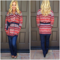 Changing Seasons Thick Knit Cardigan With Belt - RUST