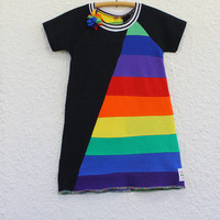Girl's Size 5 Rainbow Dress  made from Upcycled T Shirts , Recycled T Shirt Child's Rainbow Dress, Child's Raglan Sleeve Rainbow  Dress