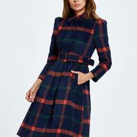 Multicolor Plaid Belted Waist Wool Blend Trench Coat