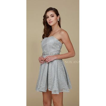 Silver Embellished Waist Strapless Lace Homecoming Short Dress