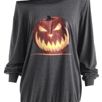Gamiss Women New Autumn Long Sleeve Tops Tee Halloween Evening Party Angry Pumpkin Skew Neck Long Tops T Shirts Plus Size XL-5XL