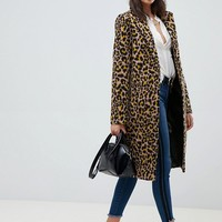 ASOS DESIGN leopard coat at asos.com