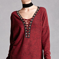 Marled Knit Strappy Top
