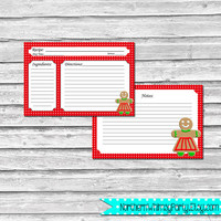 Christmas 4x6 Recipe Cards – Gingerbread Woman Cookie on Red – Printable Christmas, Hostess, Shower, or Housewarming Gift – INSTANT DOWNLOAD