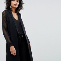 Y.A.S Longline Blazer With Sheer Sleeves at asos.com